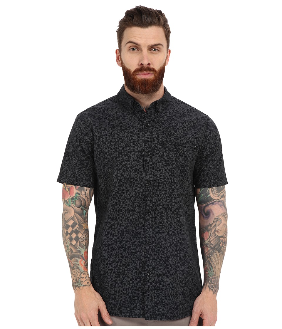 Rip Curl - Mixed End Short Sleeve Shirt (Black) Men's Clothing
