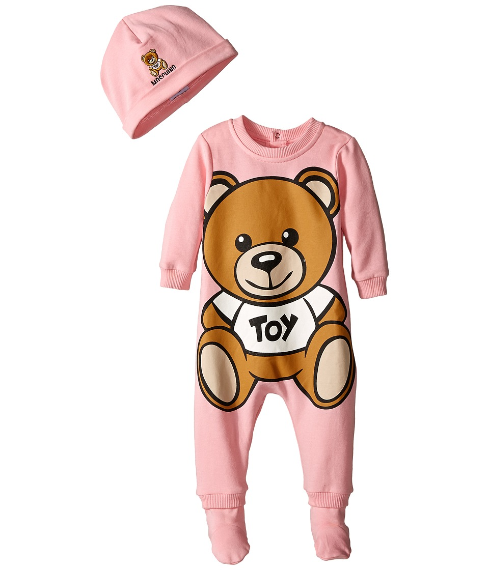 Moschino Kids - Teddy Bear Toy Footie w/ Cap Gift Set (Infant) (Pink) Girl's Active Sets