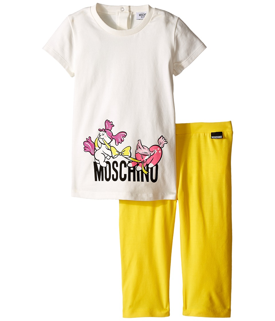 Moschino Kids - Graphic T-Shirt Leggings Set (Infant/Toddler) (White/Yellow) Girl's Active Sets