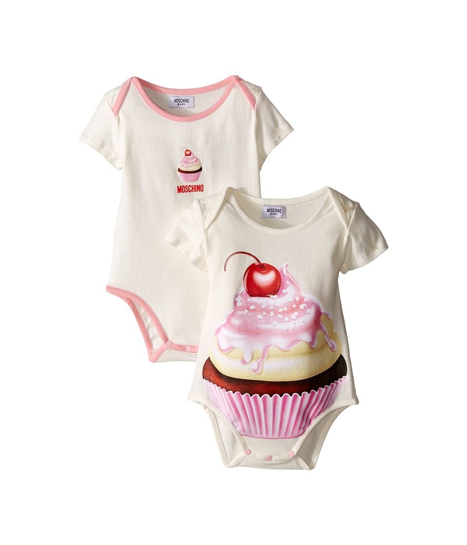 Moschino Kids - Cupcake Set of 2 Bodysuits w/ Gift Box (Infant) (White Pink) Girl's Active Sets