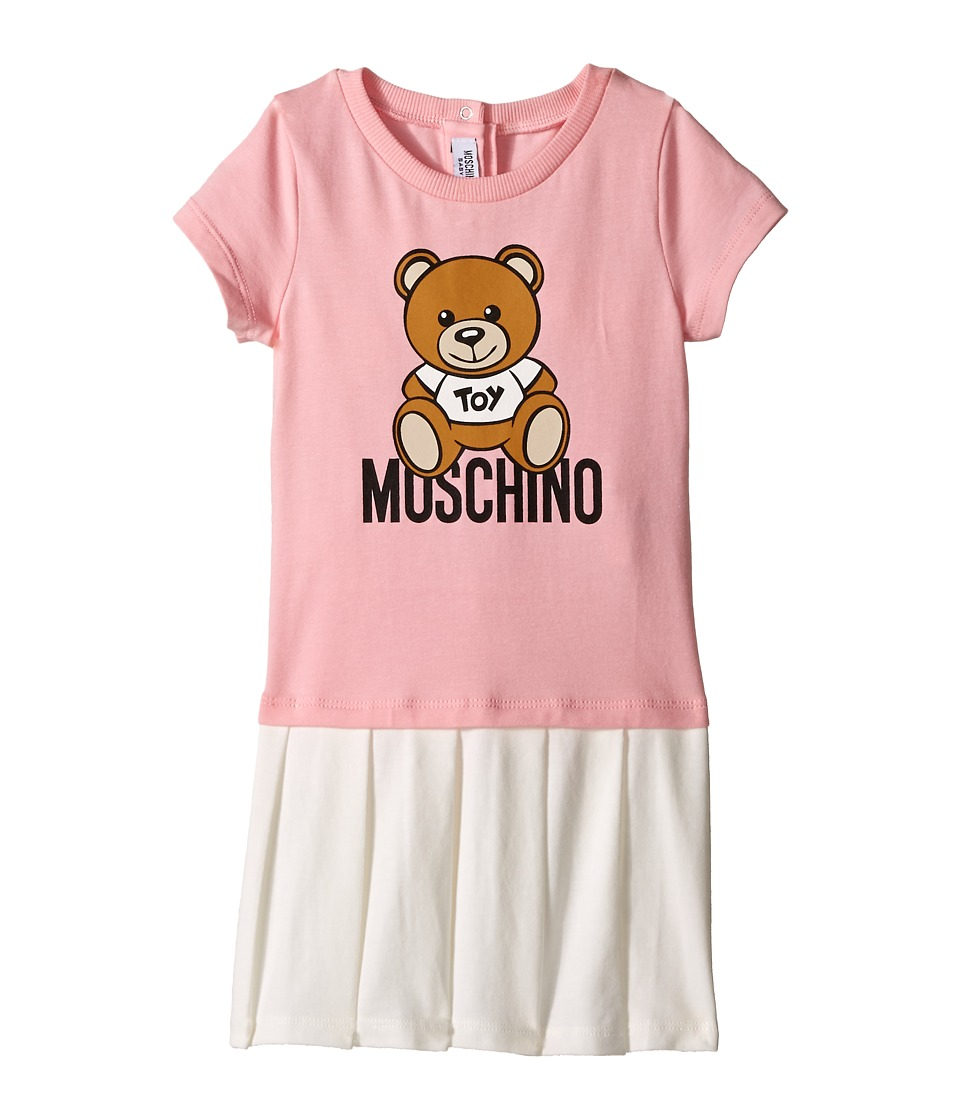 Moschino Kids - T-Shirt and Pleated Skirt Dress w/ Teddy Bear Image (Infant/Toddler) (Pink) Girl's Active Sets