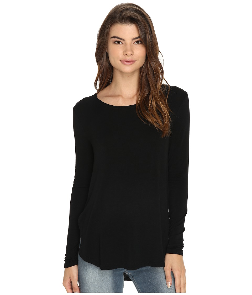 RVCA - Label Long Sleeve Crew Neck Top (Black) Women's Long Sleeve Pullover