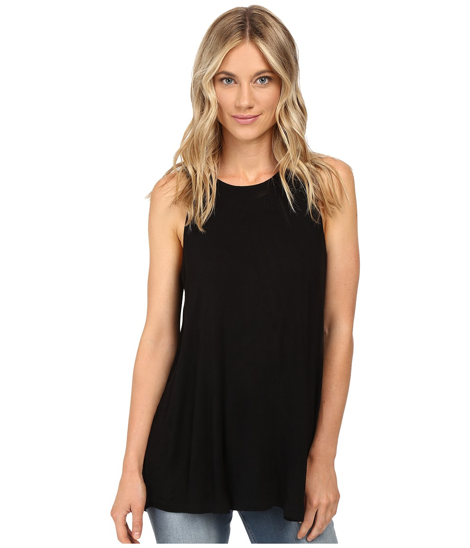 RVCA - Label High Neck Tunic Tank Top (Black) Women's Sleeveless