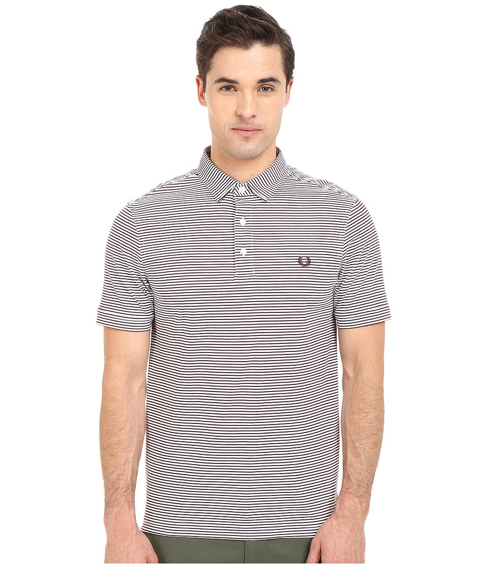 Fred Perry - Fine Stripe Shirt (White/Mahogany Stripe) Men's Short Sleeve Pullover