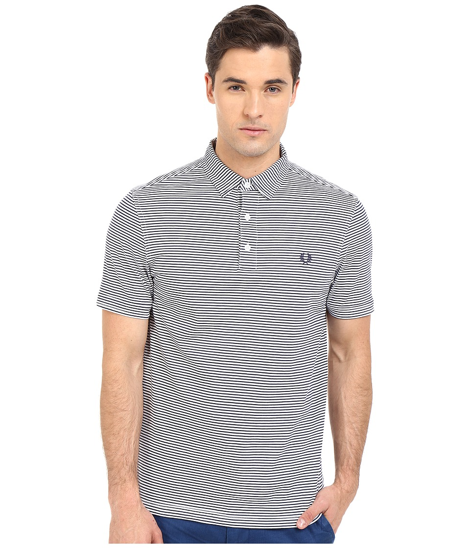 Fred Perry - Fine Stripe Shirt (White/Carbon Blue Stripe) Men's Short Sleeve Pullover