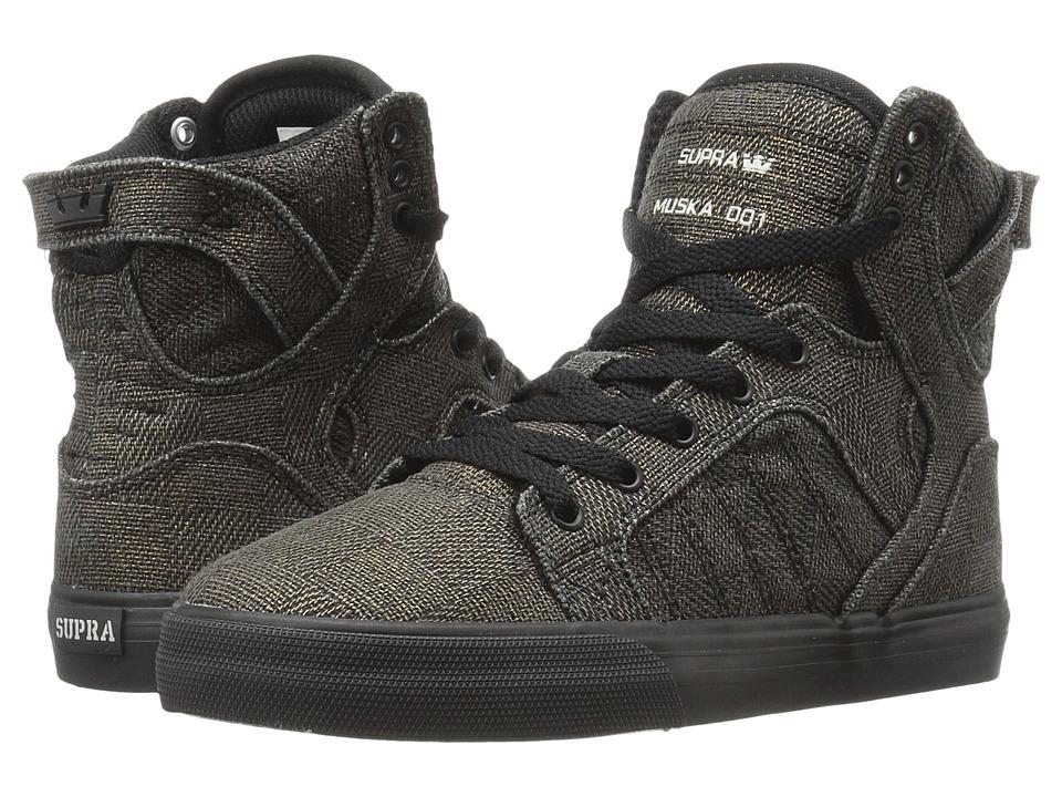 Supra Kids - Skytop (Little Kid/Big Kid) (Black/Copper Jacquard) Boys Shoes