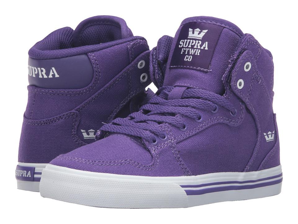 Supra Kids Vaider (Little Kid/Big Kid) (Purple Canvas) Boys Shoes