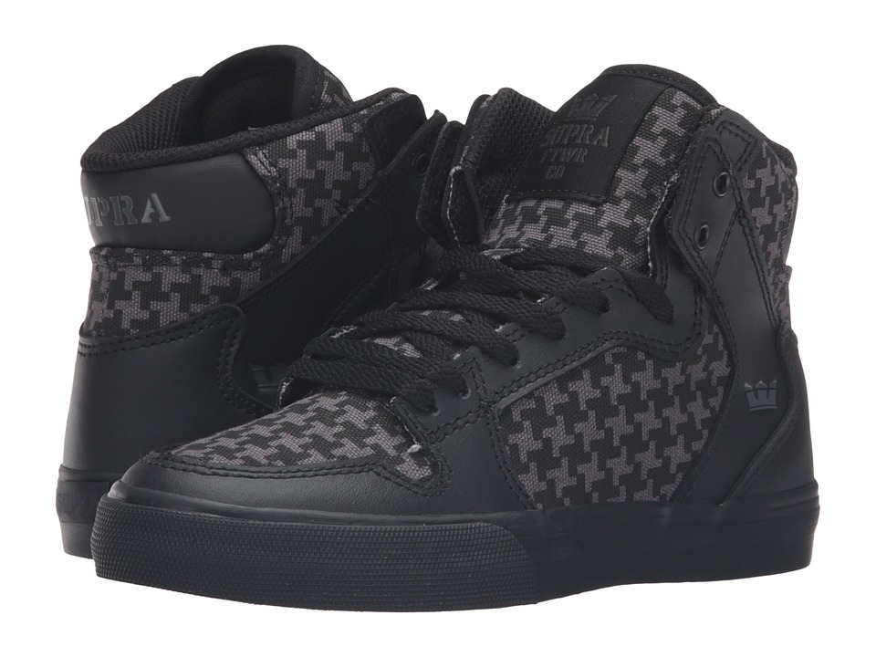 Supra Kids - Vaider (Little Kid/Big Kid) (Black Leather) Boys Shoes