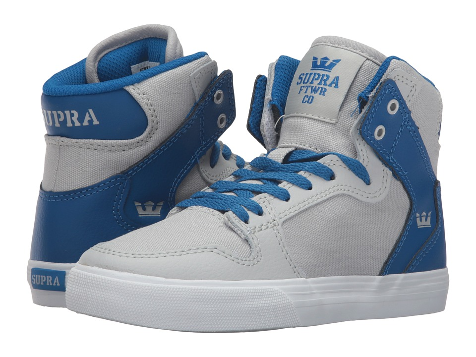 Supra Kids - Vaider (Little Kid/Big Kid) (Light Grey/Royal Textured Leather) Boys Shoes