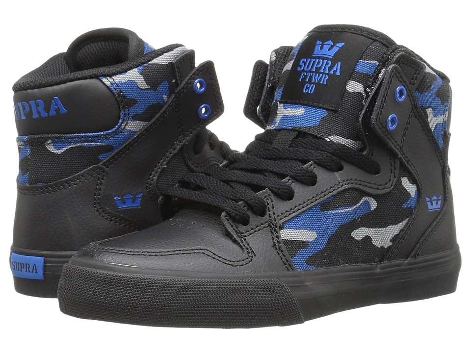 Supra Kids - Vaider (Little Kid/Big Kid) (Black Leather/Aquatic Camouflage) Boys Shoes