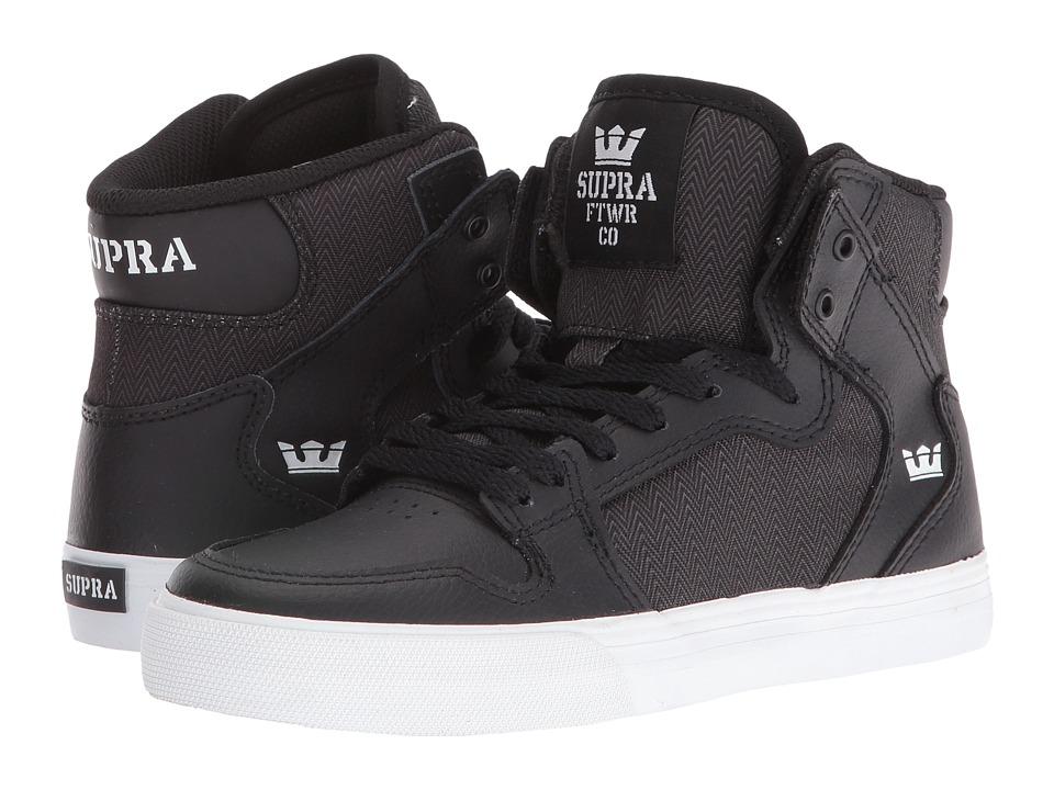Supra Kids - Vaider (Little Kid/Big Kid) (Black Leather/Herringbone Nylon) Boys Shoes