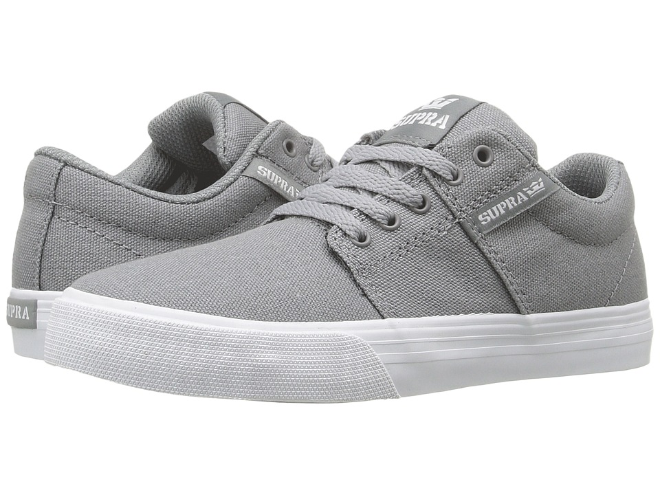 Supra Kids Stacks Vulc II (Little Kid/Big Kid) (Light Grey Canvas) Boys Shoes