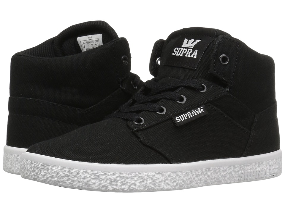 Supra Kids Yorek High (Little Kid/Big Kid) (Black Canvas) Boys Shoes