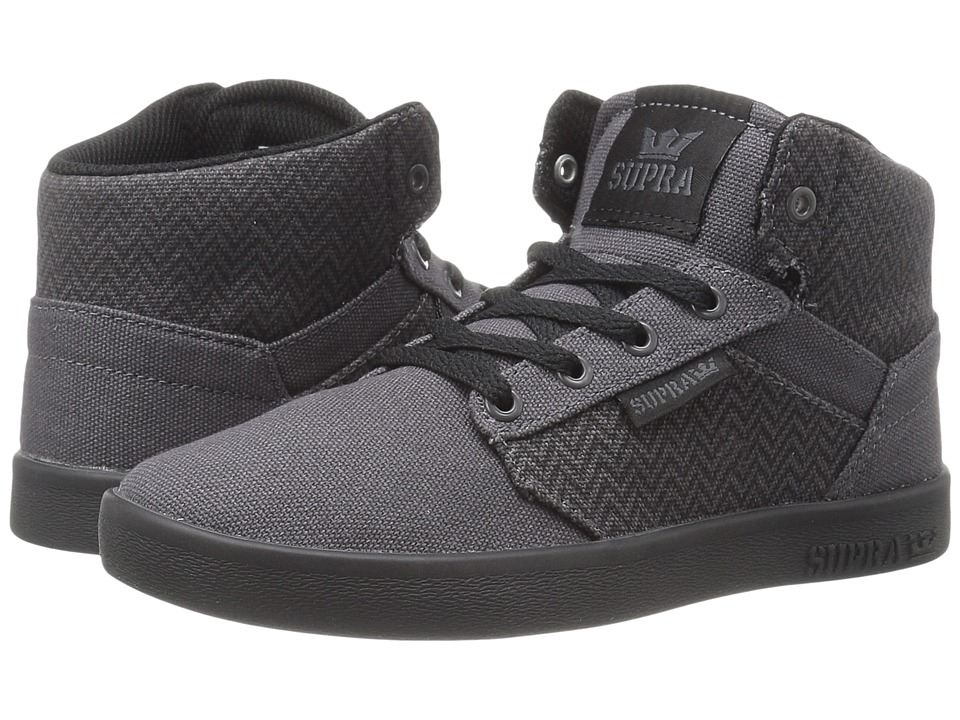 Supra Kids - Yorek High (Little Kid/Big Kid) (Black/Charcoal Herringbone Textile) Boys Shoes