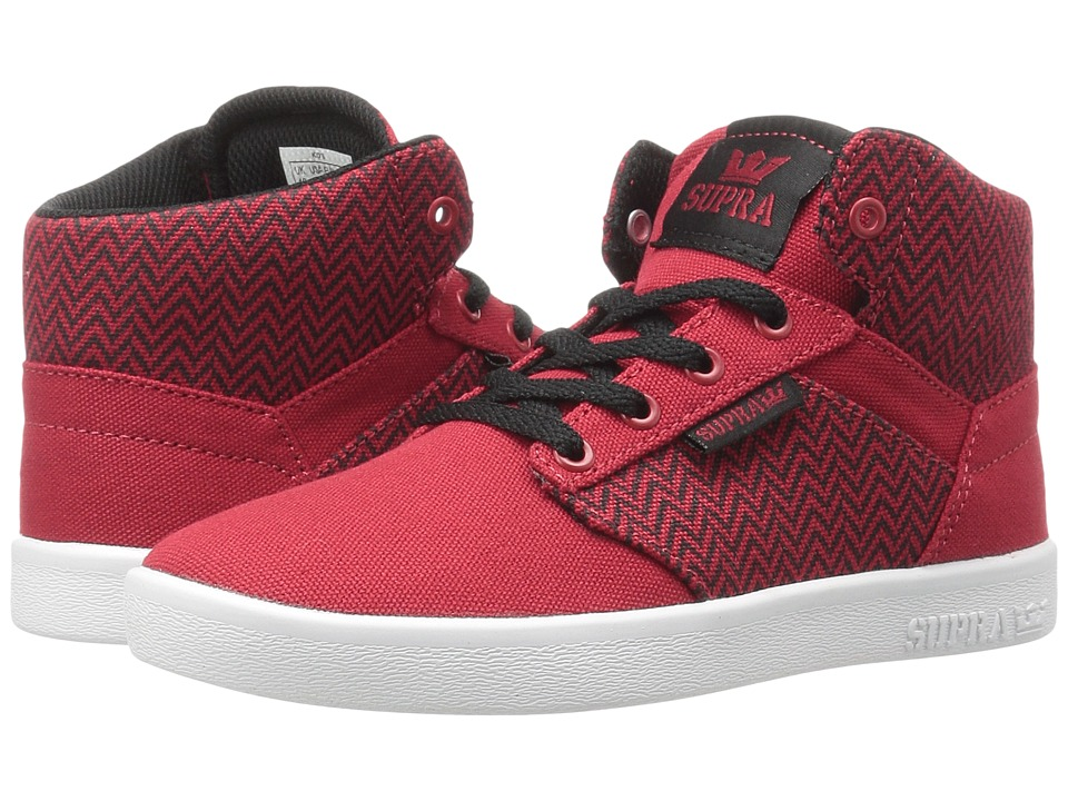 Supra Kids Yorek High (Little Kid/Big Kid) (Black/Red Herringbone Textile) Boys Shoes