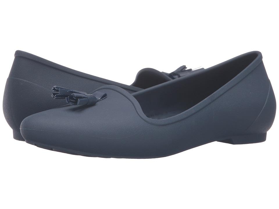 Crocs - Eve Embellished Flat (Navy) Women's Flat Shoes