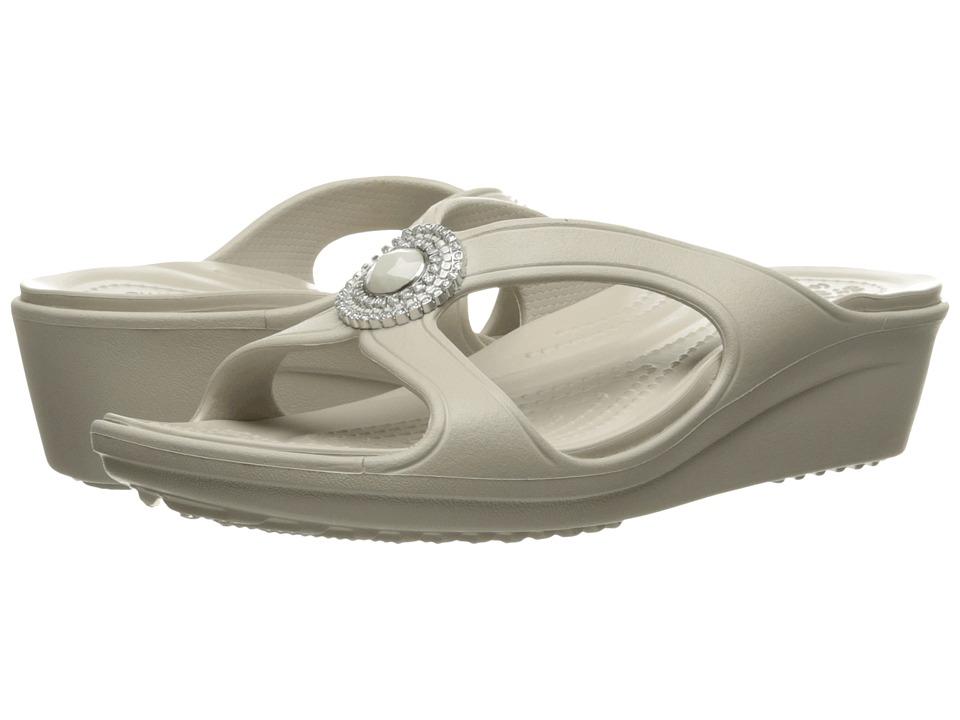 Crocs - Sanrah Beaded Wedge Sandal (Platinum) Women's Wedge Shoes