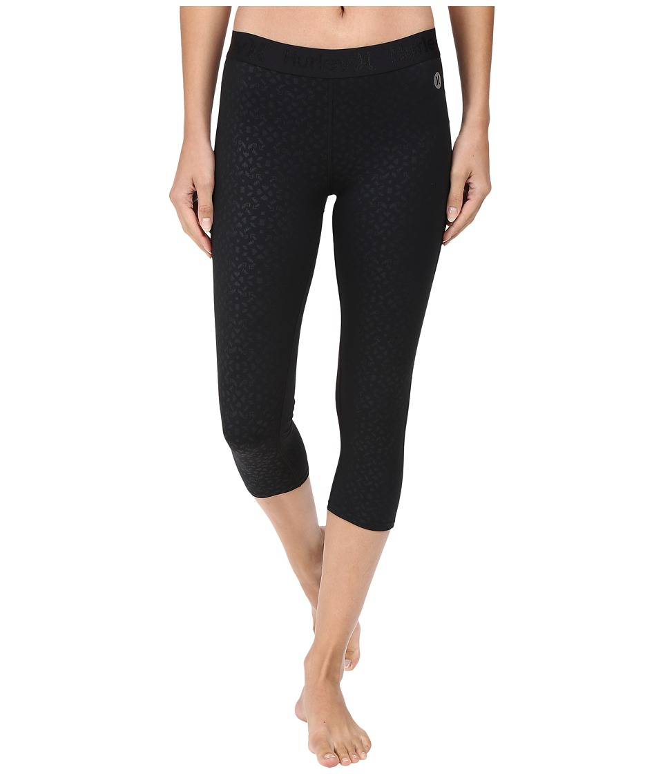 Hurley - Dri-Fit Crop Leggings (Black C) Women's Workout