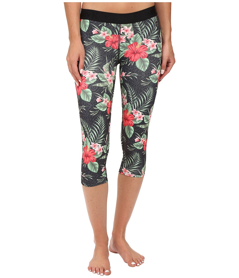 Hurley - Dri-Fit Crop Leggings (Black Floral) Women's Workout