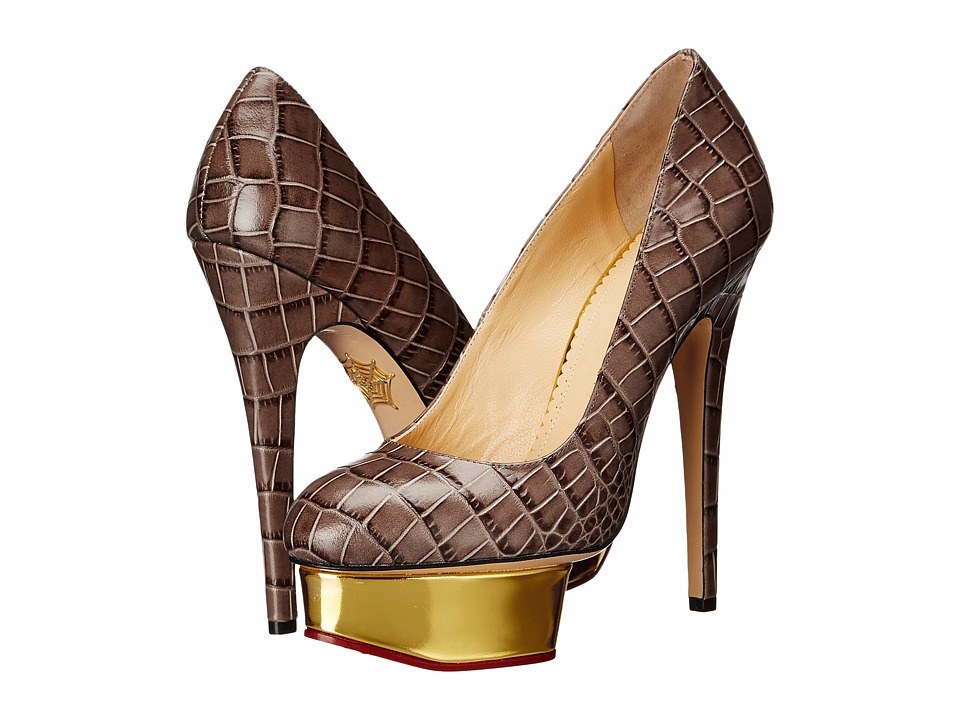 Charlotte Olympia - Dolly (Steel/Gold Embossed Croc-Effect Calf/Calf) High Heels