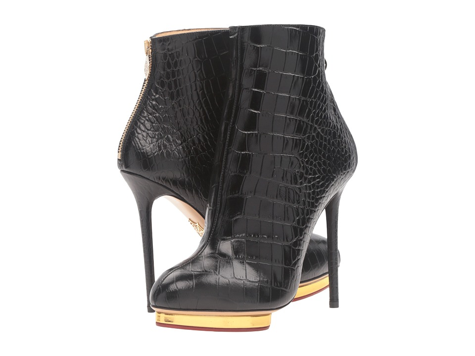 Charlotte Olympia - Doreen (Black/Gold Embossed Croc-Effect Calf/Calf) Women's Boots