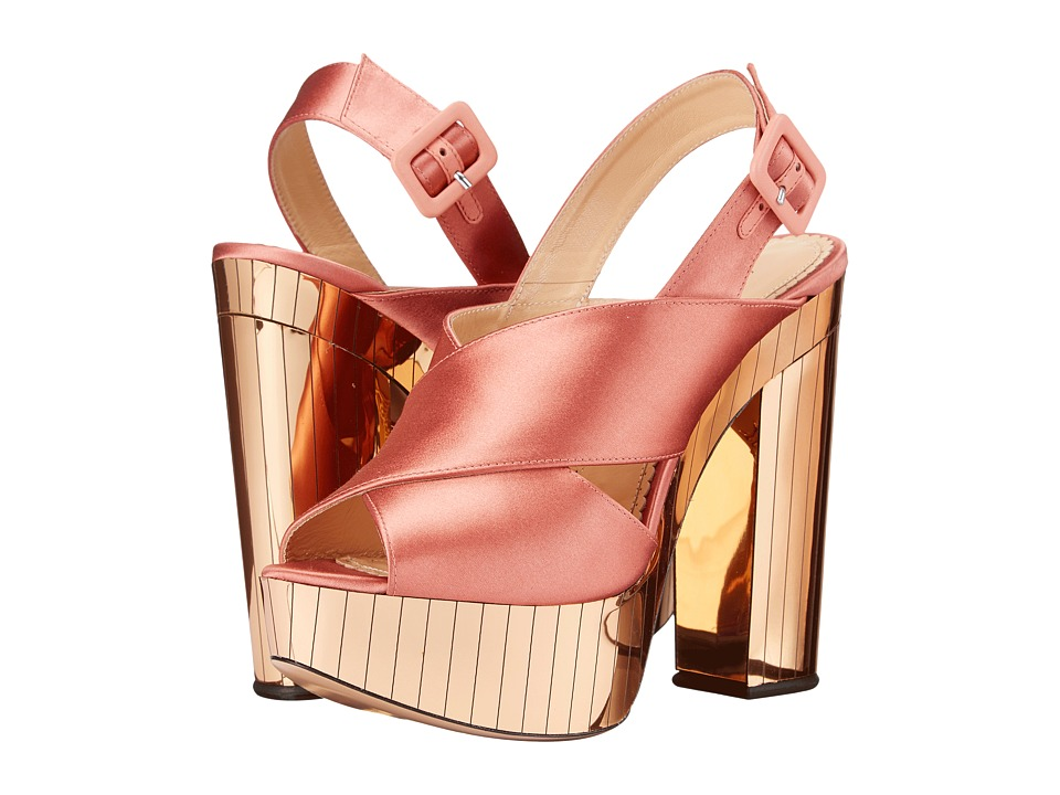 Charlotte Olympia Electra (Power Pink/Gold Satin/Perspex) High Heels