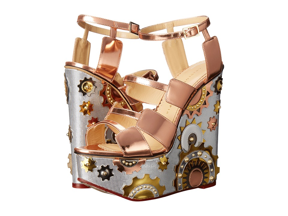 Charlotte Olympia - Mechanical Merylin (Copper/Silver/Gold Metallic Calfskin) Women's Wedge Shoes