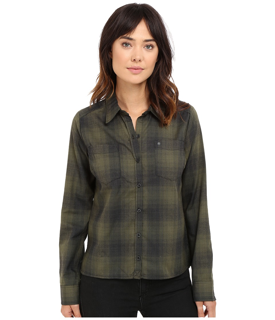 Hurley - Dri-Fit Wilson Flannel (Cargo Khaki) Women's Long Sleeve Button Up