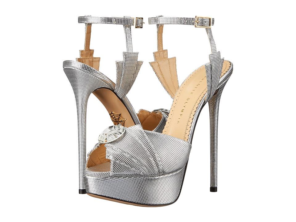 Charlotte Olympia - Sky Scraper Sandals (Silver Textured Metallic Calfskin) High Heels