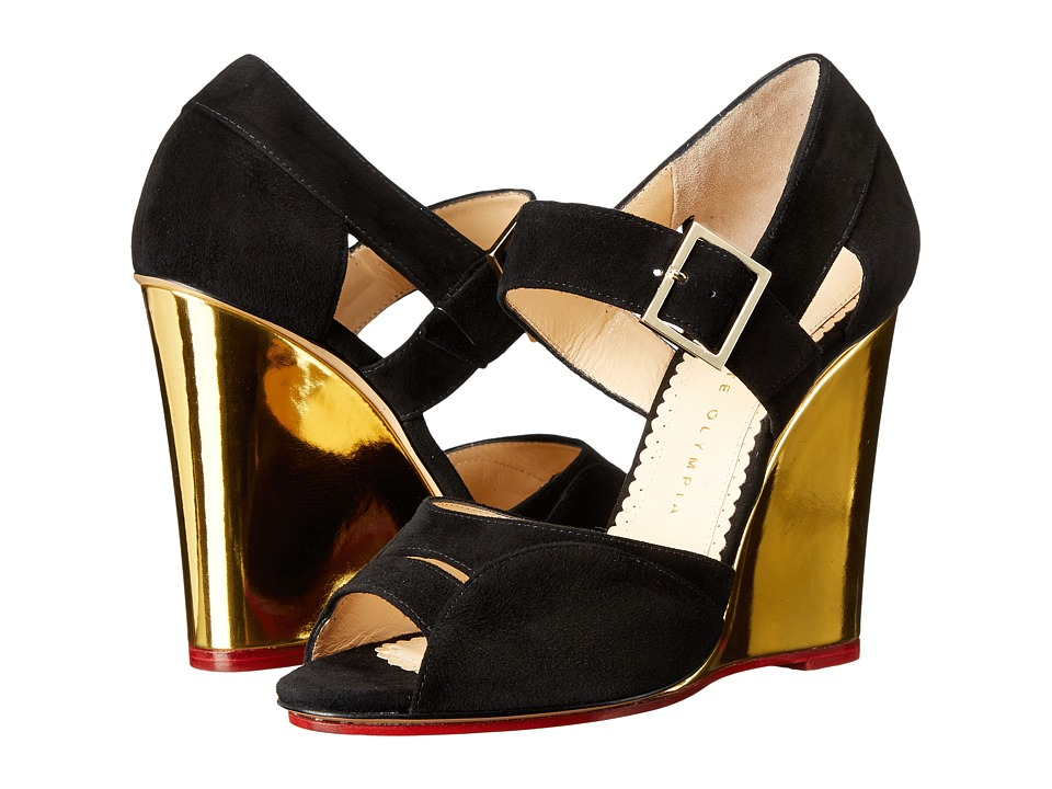 Charlotte Olympia - Marcella 100 (Black/Gold Suede/Metallic Calfskin) Women's Wedge Shoes