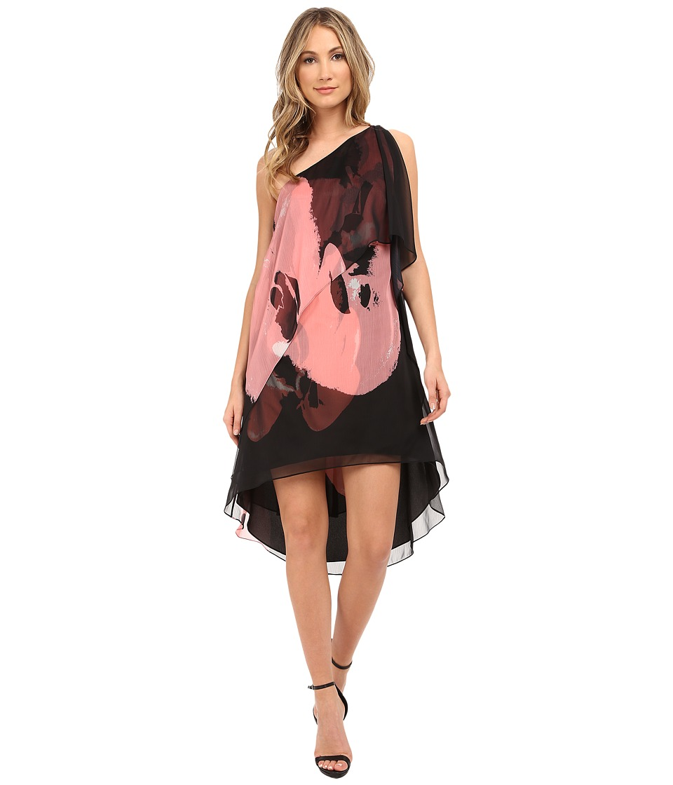 Halston Heritage - One Shoulder Asymmetrical Neck Printed Tiered Dress (Black/Parfait Orchid Placement Print) Women's Dress