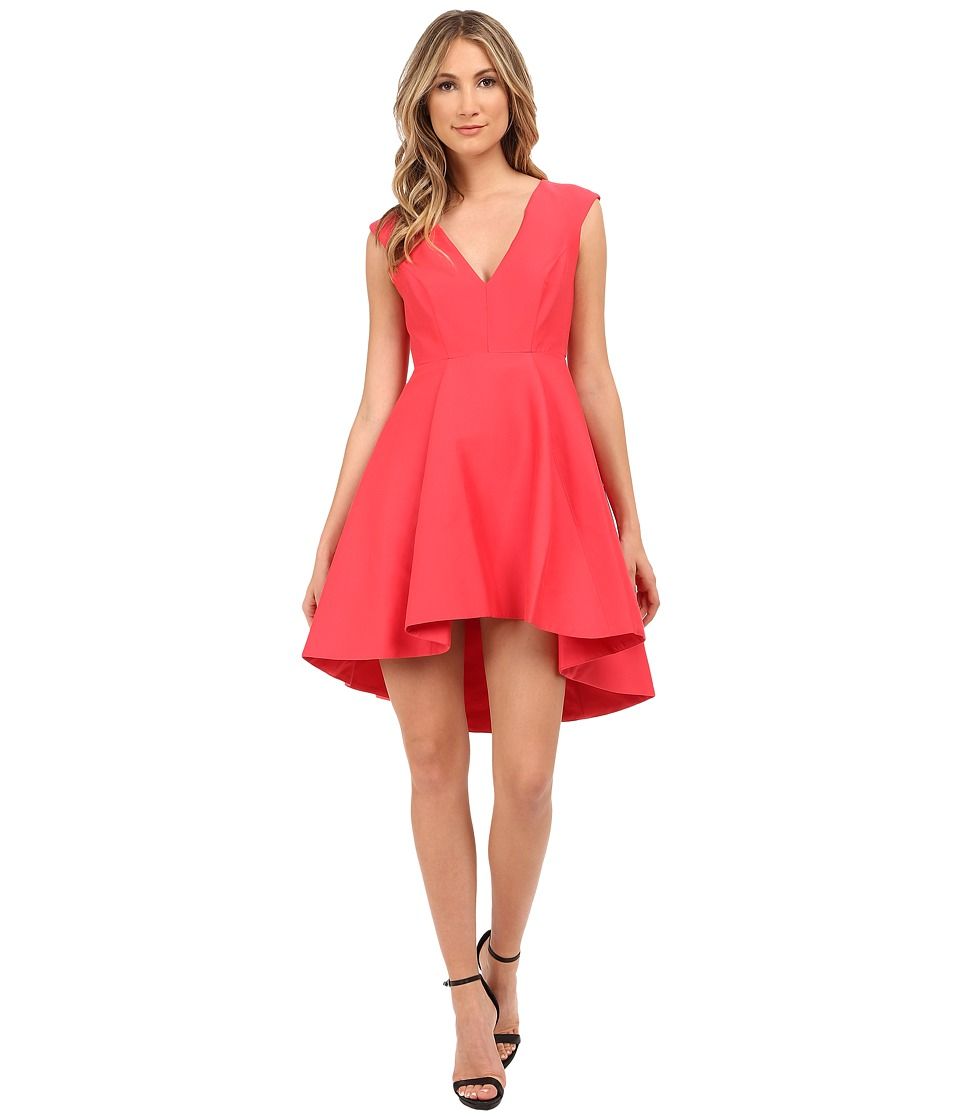 Halston Heritage - Cap Sleeve V-Neck Structured Dress with Hi-Lo Skirt (Coral) Women's Dress