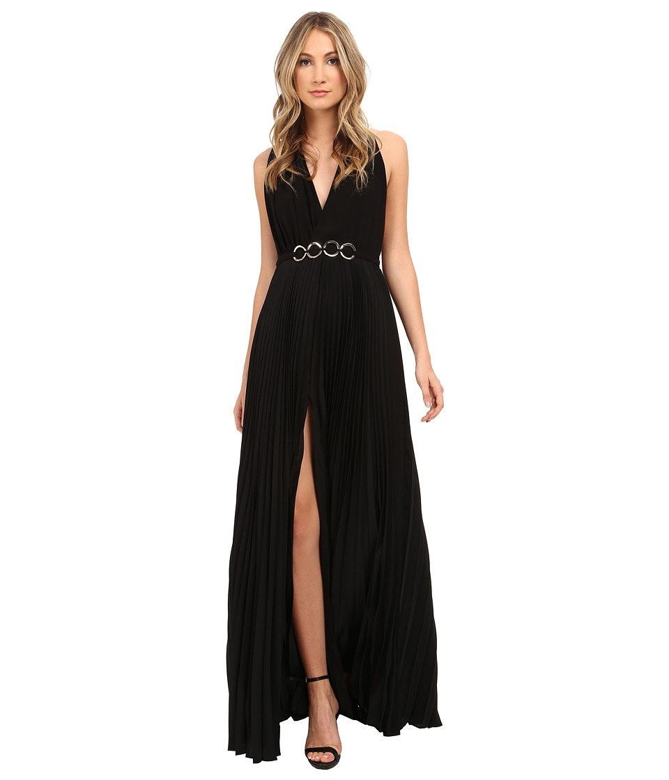Halston Heritage Sleeveless V-Neck Gown with Pleated Skirt (Black) Women