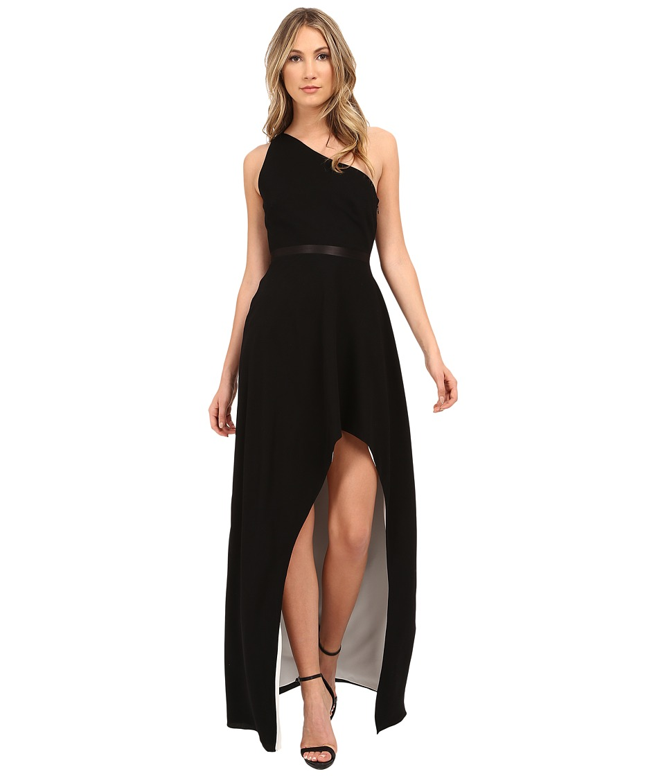 Halston Heritage - One Shoulder Asymmetrical Neck Gown with Hi-Lo Skirt (Black/Bone) Women's Dress