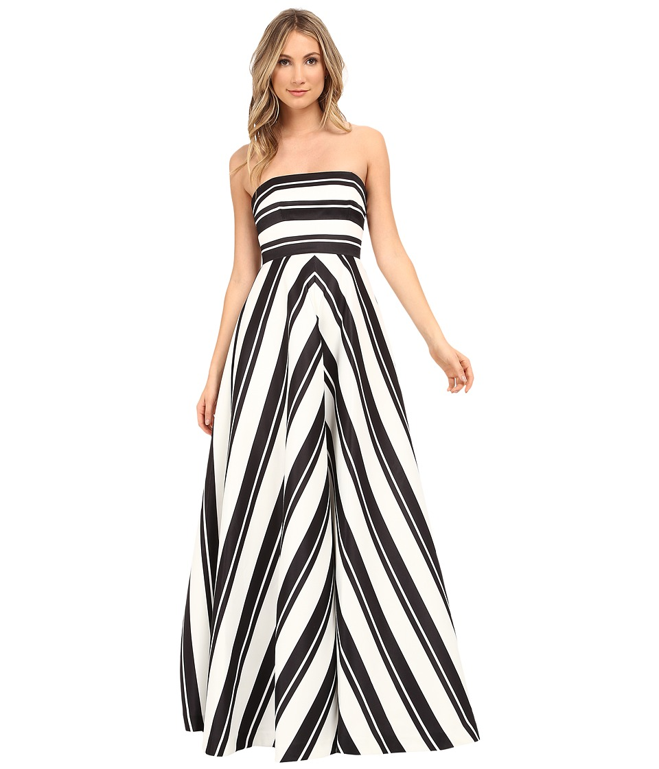 Halston Heritage - Strapless Placement Print Structured Gown (Black/Eggshell Variegated Stripe Print) Women's Dress