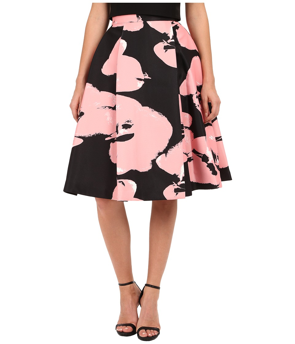 Halston Heritage - High Waist Printed Structured Skirt (Black/Parfait Abstract Orchid) Women's Skirt