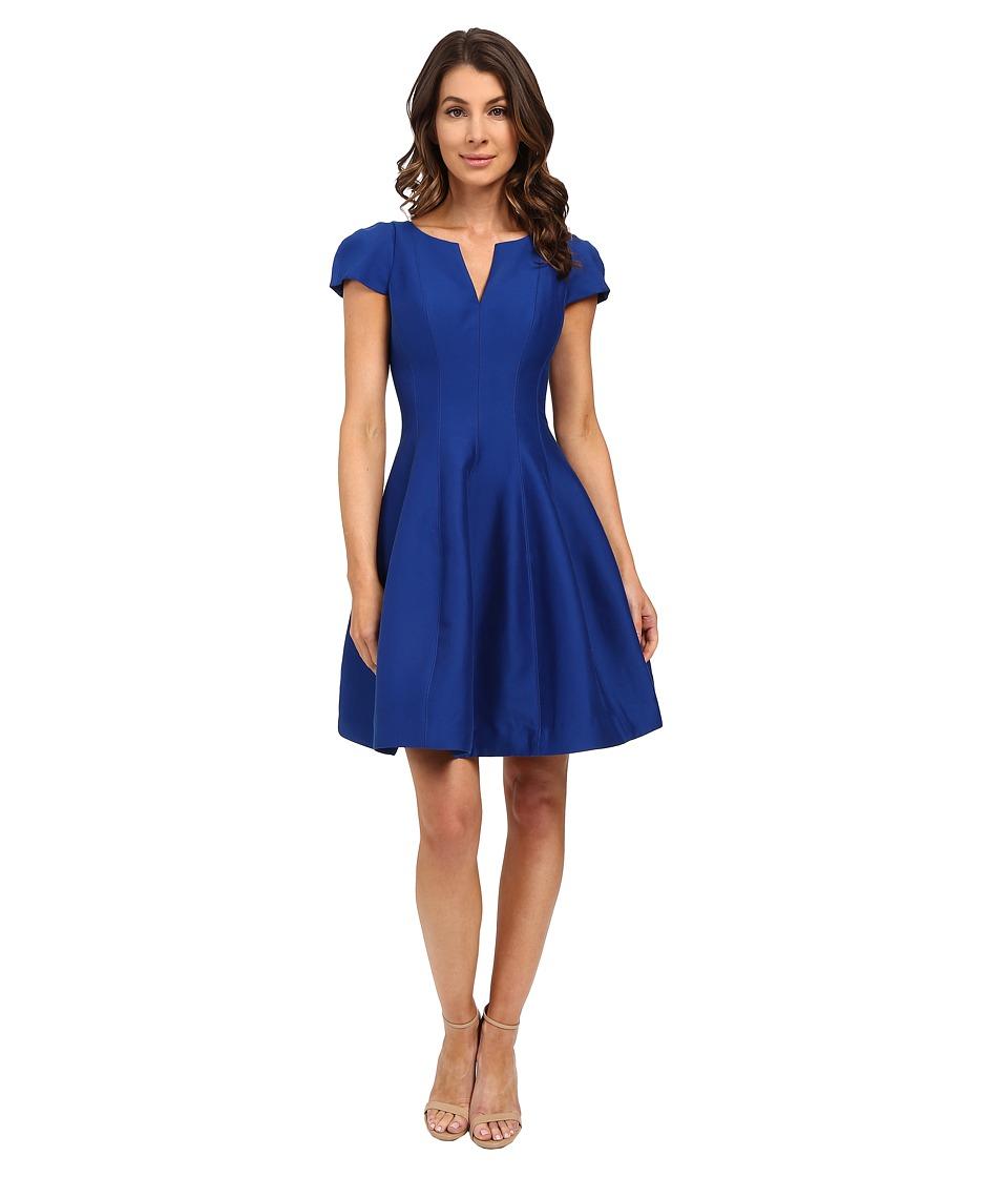 Halston Heritage - Short Sleeve Notch Neck Dress with Tulip Skirt (Cobalt) Women's Dress