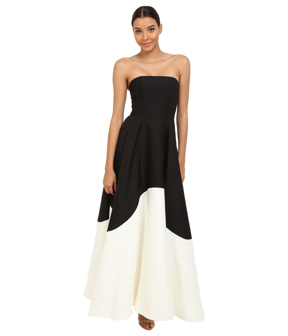 Halston Heritage - Strapless Color Blocked Structured Gown (Black/Eggshell) Women's Dress