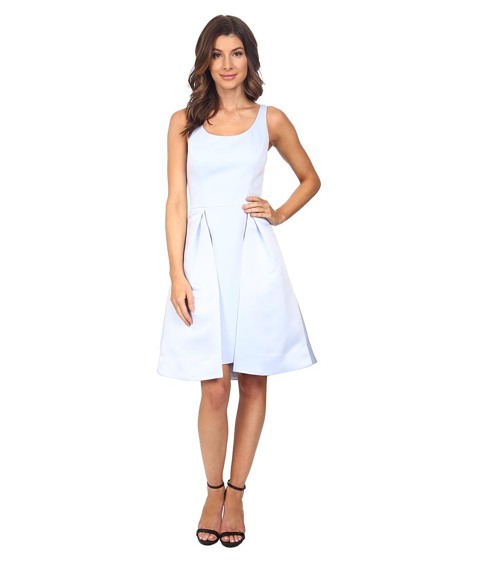 Halston Heritage Sleeveless Round Neck Satin Faille Dress with Skirt Overlay (Breeze) Women