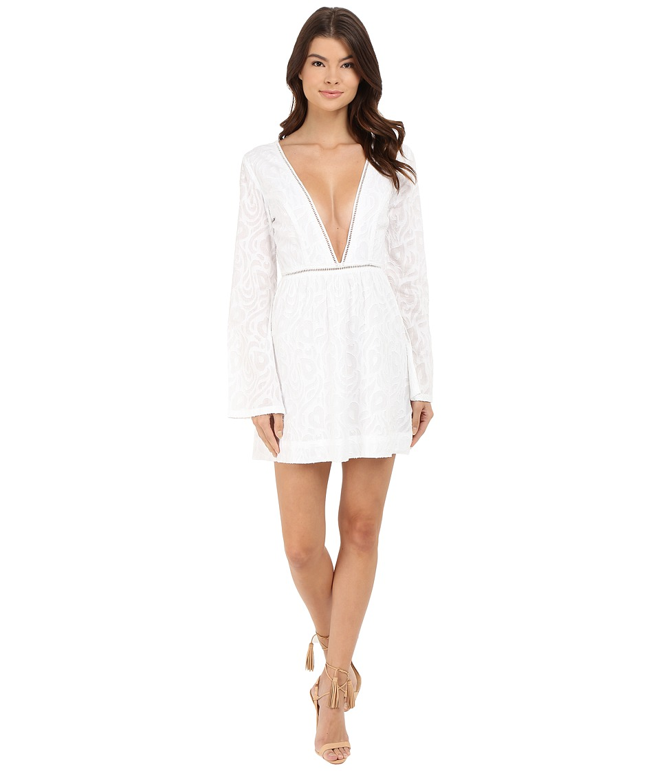 Gypsy05 - Long Sleeve Deep V Mini Dress (White) Women's Dress