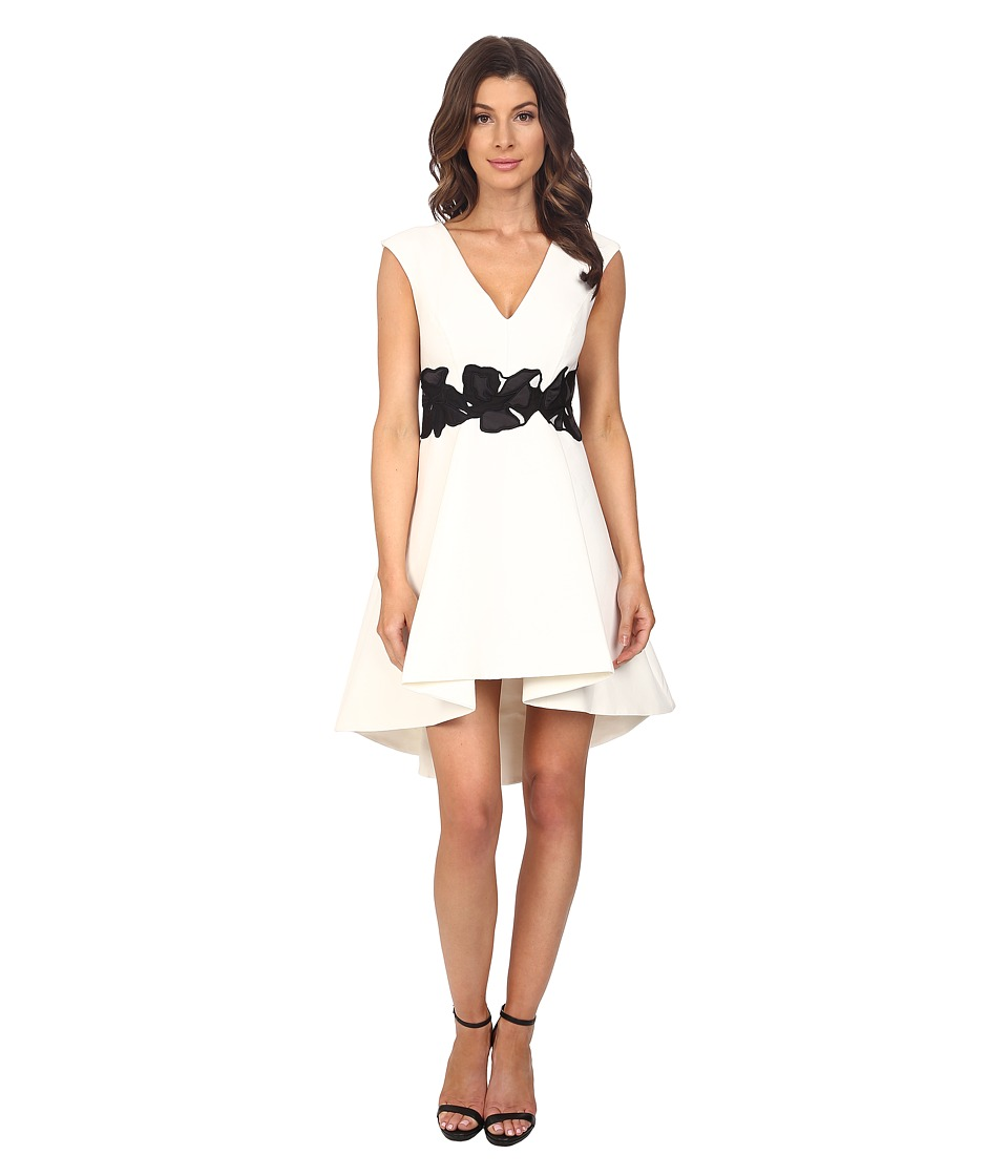 Halston Heritage - Cap Sleeve V-Neck Structured Dress with Orchid Applique (Eggshell/Black) Women's Dress