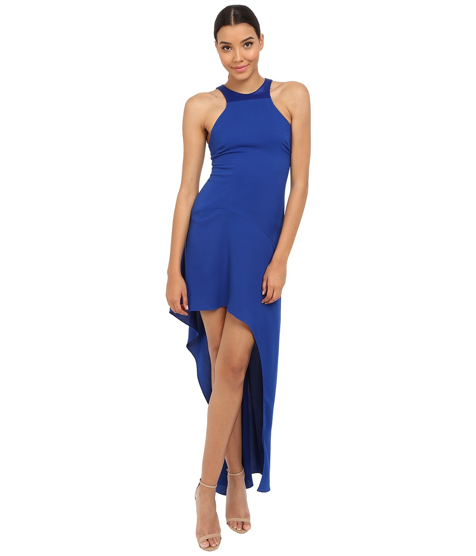 Halston Heritage - Sleeveless Round Neck Gown with Asymmetrical Skirt (Cobalt) Women's Dress