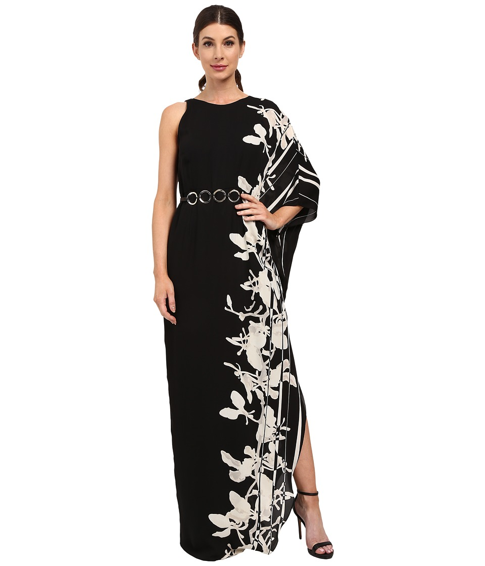 Halston Heritage - One Sleeve Printed Gown with Curved Circle Belt (Black/Oyster Orchid Border Stripe) Women's Dress