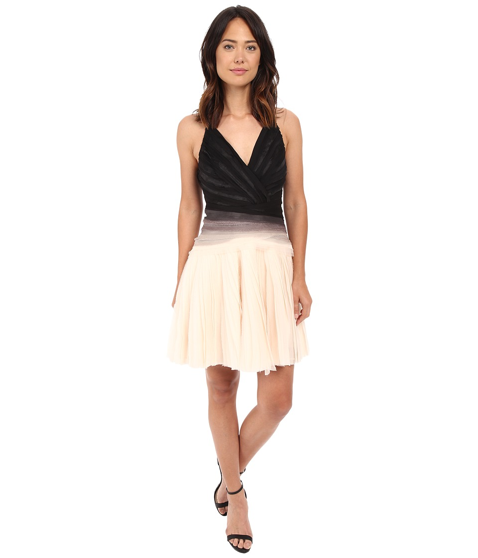 Halston Heritage Sleeveless V-Neck Ombre Dress with Engineered Strips (Oyster/Black) Women