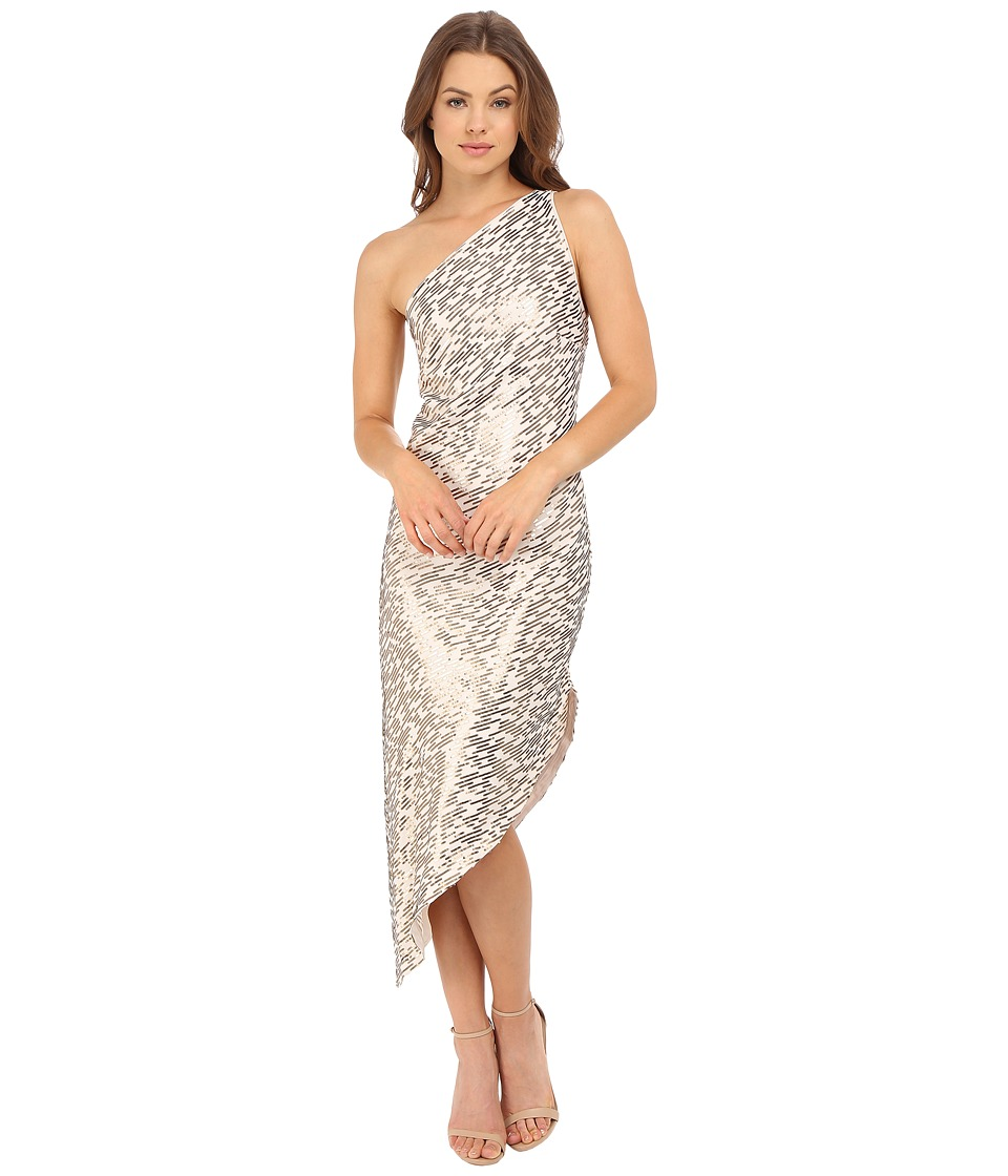 Halston Heritage - One Shoulder Asymmetrical Hem All Over Sequin Stripe Embellished Dress (Oyster/Gold) Women's Dress