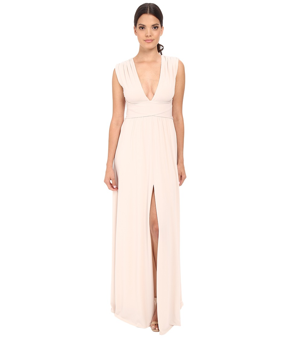 Halston Heritage Sleeveless V-Neck Jersey Gown with Wrap Tie Front Slit Oyster Dress