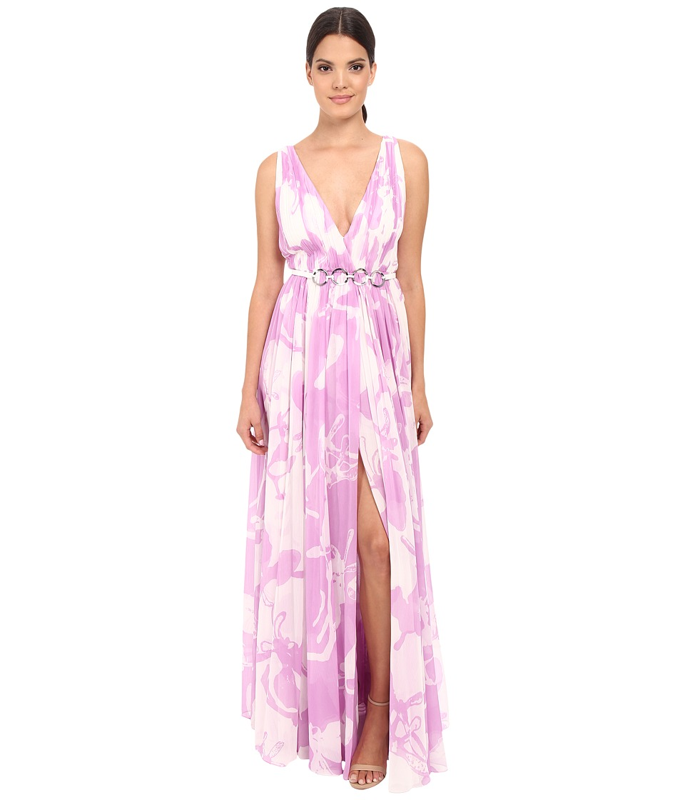 Halston Heritage - Sleeveless V-Neck Print Blocked Chiffon Gown (Oyster/Tullip Orchid All Over Print) Women's Dress