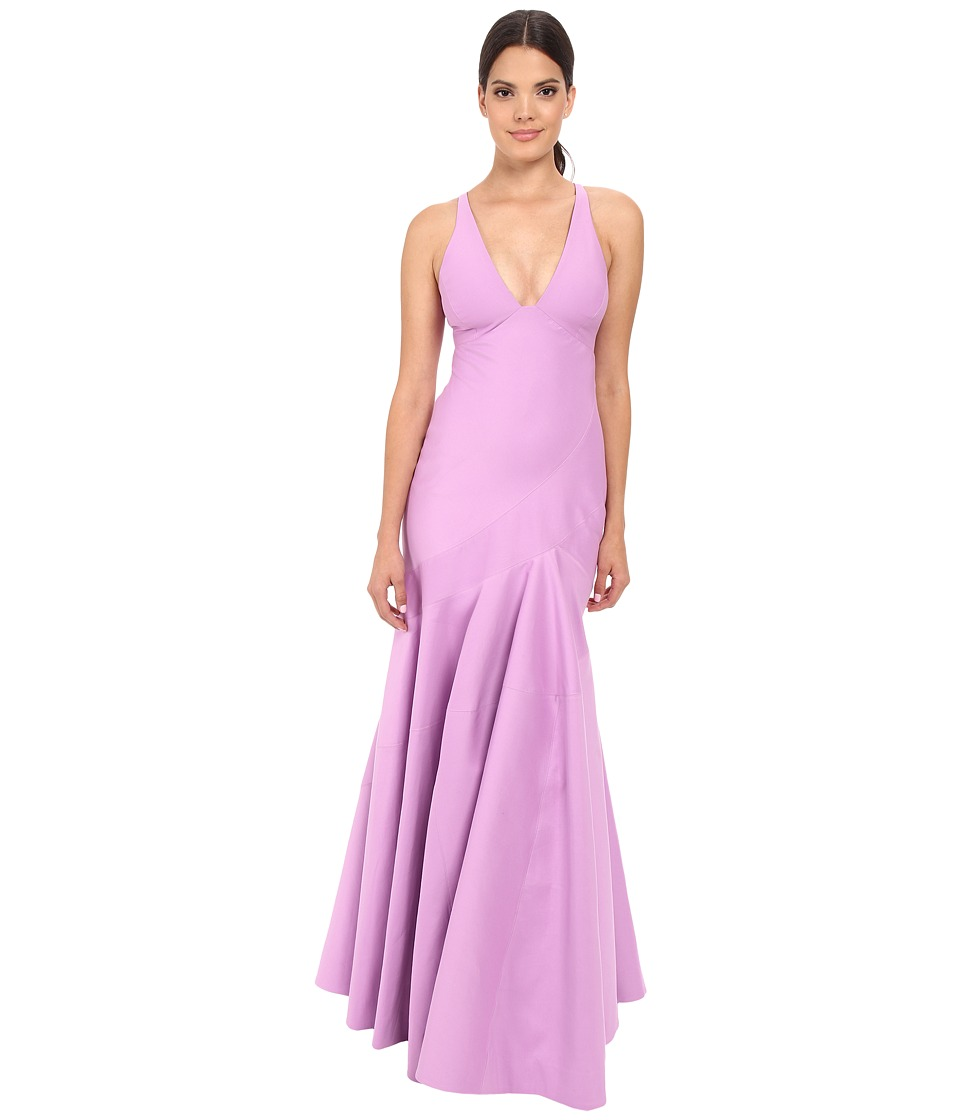 Halston Heritage - Sleeveless V-Neck Structured Gown with Seam Detail (Tulip) Women's Dress
