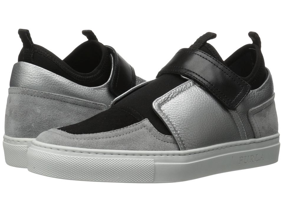 Furla Fantasia Sneaker Silver-Marmo Vitello Monet Metal-Suede Womens Shoes