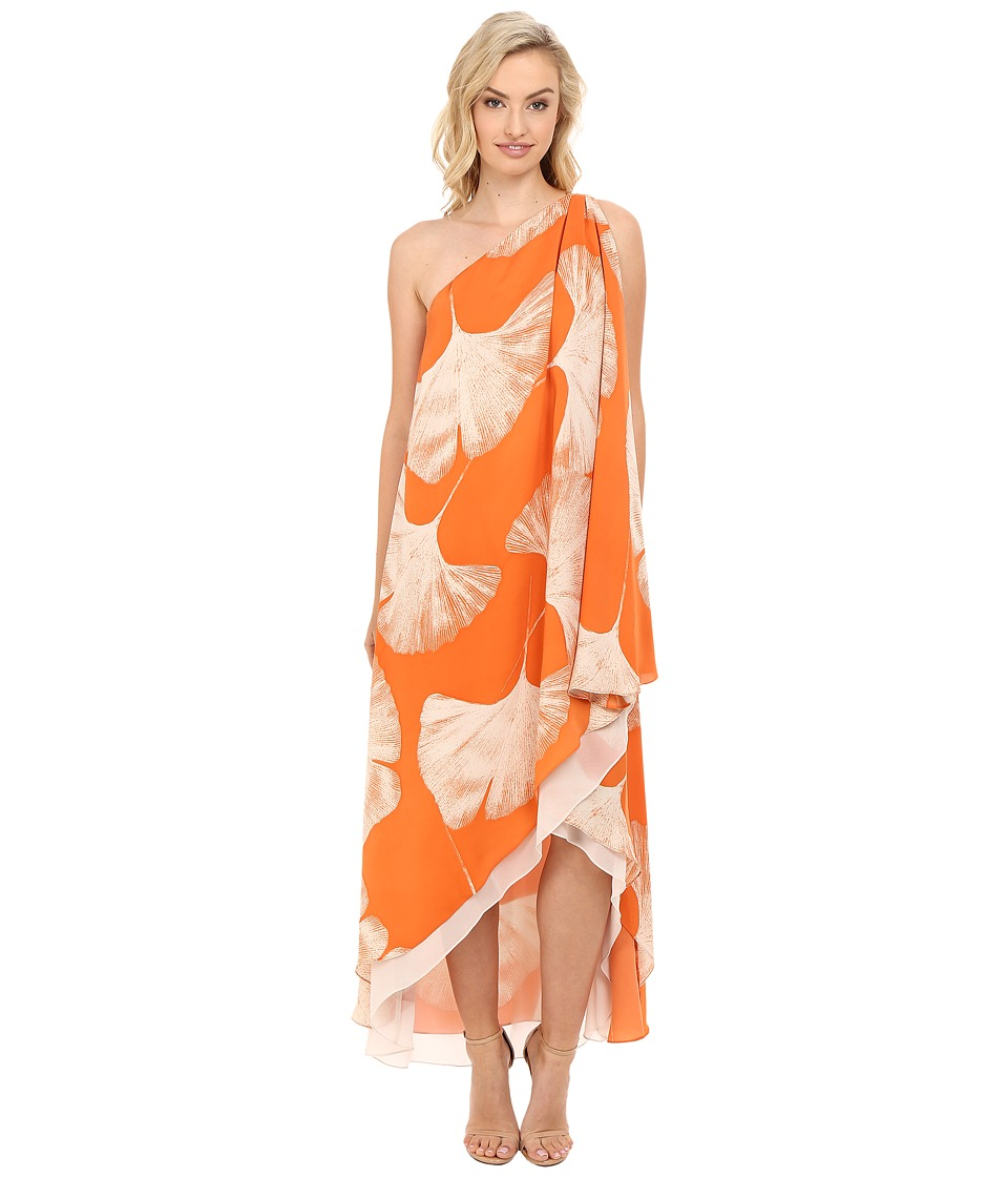 Halston Heritage - One Shoulder Printed Drape Gown (Terracotta Botanical Print) Women's Dress